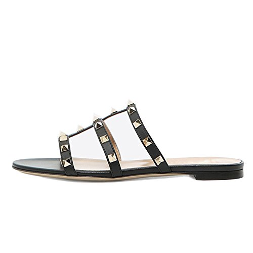 VOCOSI Women's Flat Heel Sandals with Rivets Slide