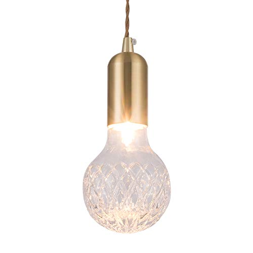 - RH RUIVAST 1-Light Indoor Golden Pendant Lighting,Clear Glass Hanging Light Fixtures,for Kitchen Living Room Dining Room Bedroom Stairwell Bar and Hotel.