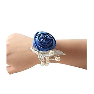 Fat BABCustom Prom Flower Corsage Bracelet Satin Rose Wrist Corsage Bridal Hand Flower Pearl Brooch Wedding Wrist Band FE53 45
