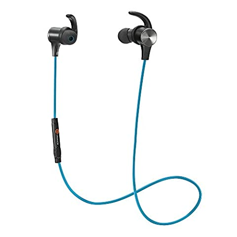 Bluetooth Headphones, TaoTronics Wireless 4.1 Magnetic Earbuds aptX Stereo Earphones, IPX5 Splash Proof Secure Fit for Sports with Built in Mic TT-BH07 (Taotronics Bluetooth Headphones)