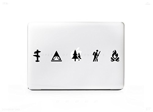 5 Camping Hiking Outdoors Icons Decal For MacBook Pro 13