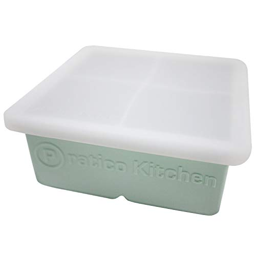 Praticube Large Ice Cube Mold - 4 Large 2.25 Inch Ice Cubes - Prevent Diluting Your Scotch, Whiskey, Cocktails - 1 Pack with Lid