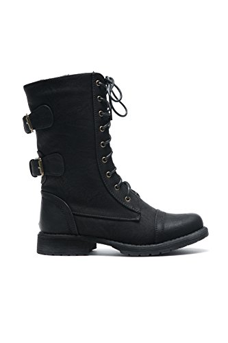 Ankle Florence2 Booties Black Herstyle Up Combat Knee Mid Lace Buckle Military Women's Boots qadwd7St