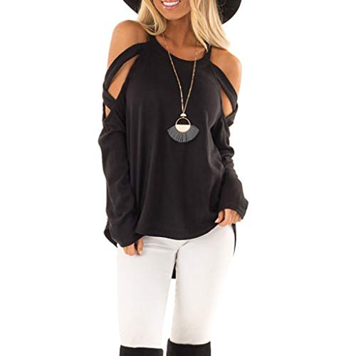 (Sunmoot 2019 Spring New Strapless Top for Women Long Sleeve Off Shoulder O-Neck Lightweight Blouse Tee Shirts)