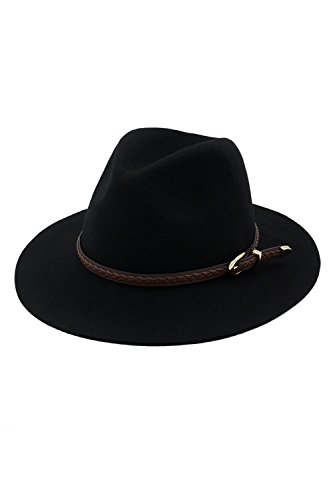 Pepper Wool - Generic autumn winter _New_England_Small_peppers of_Ms. hat Pure_Wool_it hat belt_wide_eaves versatile_jazz_hat