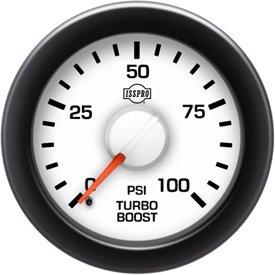 ISSPRO R14433 EV² Electronic Turbo Boost 0-100 - Full Kit, White Face, Red Pointer, Black Bezel, White Hub