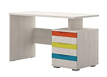 Chambre - Bureau Peter 04, Couleur : Pin Blanc/Orange/Jaune ...