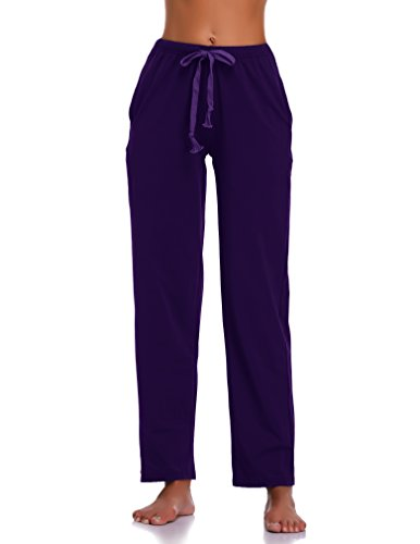 Luvrobes Women's Cotton Knit Pajama Lounge Pants, Solid Color(L, Violet) - Cotton Knit Pjs