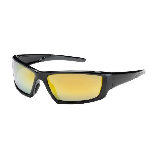 Sunburst Science - Sunburst 250-47-0007 Full Frame Safety Glasses with Black Frame, Gold Mirror Plus Lens and Anti-Scratch/Anti-Reflective Coating