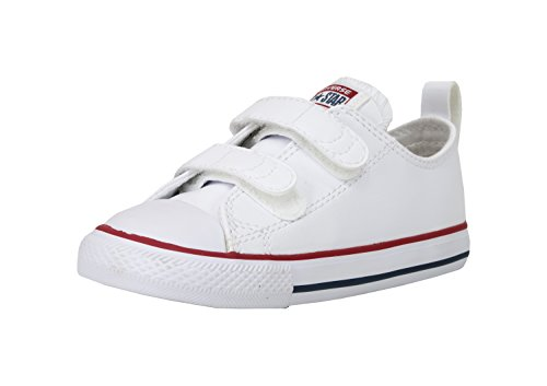 Converse Girls' Chuck Taylor All Star 2V Leather Low Top Sneaker, White, 7 M US Toddler