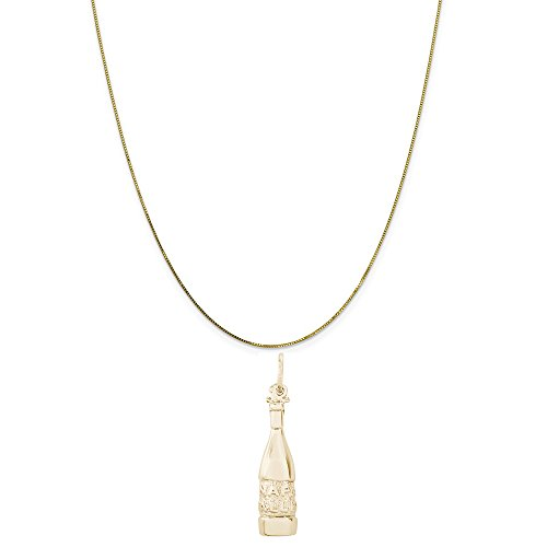 (Rembrandt Charms 14K Yellow Gold Napa Valley Wine Bottle Charm on a Box Chain Necklace,)