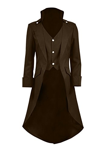 Very Last Shop Mens Gothic Tailcoat Jacket Black Steampunk Victorian Long Coat Halloween Costume (US Men-L, Khaki) -