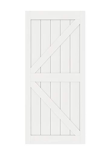 DIYHD K 38X84inch Sliding Barn Slab MDF Solid Core Primed Interior Door Panel(Disassembled), White-38X84, White