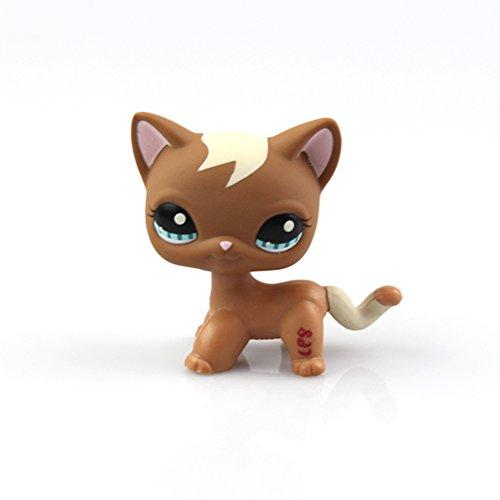 Littlest Pet Shop Toys Shorthair Kitten Cat LPS Rare Standing Cat Mask Short Hair (choose your cat) for Kids Gift (Brown, Green Eyes, White Ears) (Shorthair Cat)