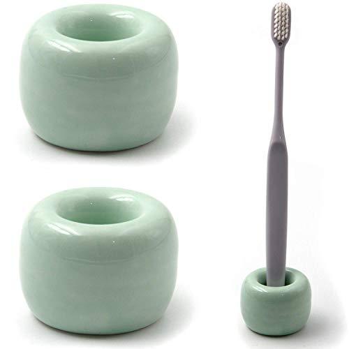 Prewinshop Mini Ceramics Handmade Couple Toothbrush Holder Stand for Bathroom, Pack of 2 (Green) (Ceramic Couple)