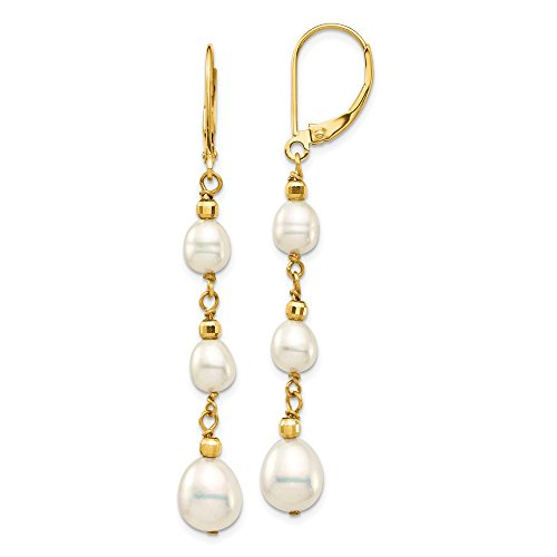 14k Yellow Gold 8mm White Rice Freshwater Cultured Pearl Graduated Leverback Earrings Lever Back Drop Dangle Fine Jewelry Gifts For Women For Her
