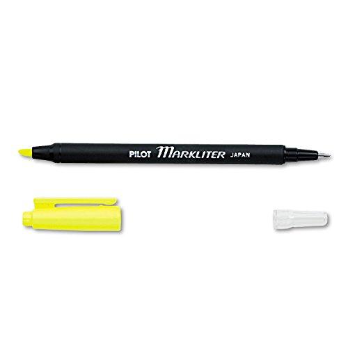 Double Tip Marker America (Pilot 45600 - Markliter Black Ballpoint Pen & Fluorescent Yellow Chisel-Tip Highlighter)