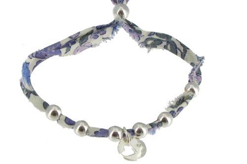 Les Poulettes Bijoux - Bracelet Liberty Lilas Perles et Médaille Coeur en Argent