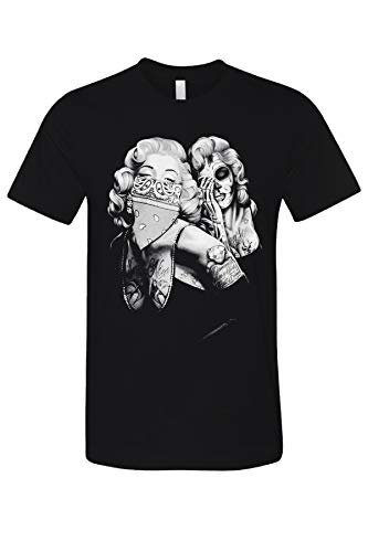 Marilyn Monroe with Muerte Tattoo Urban Vintage Graphic Printed Men's Casual T-Shirt Black Medium