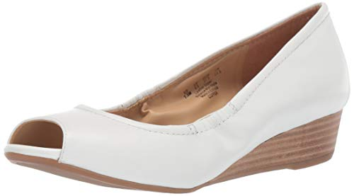 White Leather Wedge - Naturalizer Women's Copper Wedge Sandal White Leather 7.5 M US