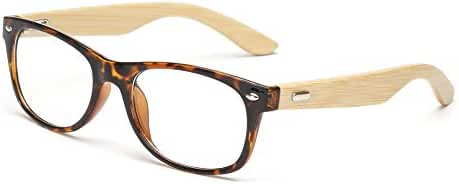 Outray Retro Wooden Frame Rectangler Clear Lens Glasses
