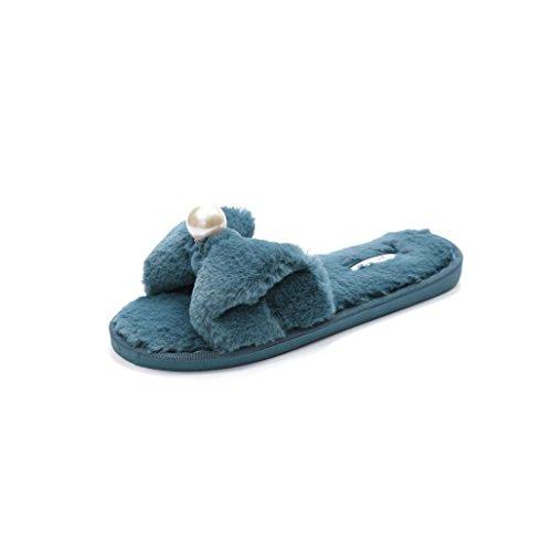 WINWINTOM Señoras Para Mujer de Moda Slip On Sliders Zapatillas Suaves de Piel Sintética Sandalia Flip Flop con Nudo de Mariposa Azul