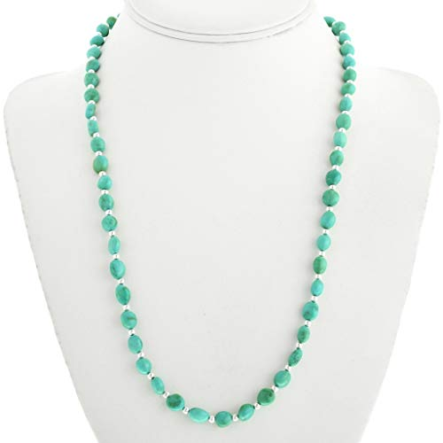 Navajo Turquoise Silver Beaded Necklace Natural Sleeping Beauty Single Strand 0015 (Turquoise Necklace Strand Single)