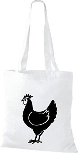 Shirtstown Stoffbeutel Tiere Hahn, Chicken Weiß