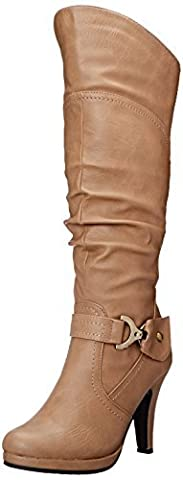 Top Moda Womens Page-65 Knee High Round Toe Lace-Up Slouched High Heel Boots,Tan,7.5 - Boots