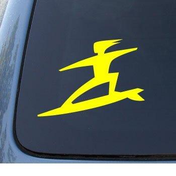 SURFER - Surf Board Dude - Car, Truck, Notebook, Vinyl Decal Sticker #1033   Vinyl Color: Yellow