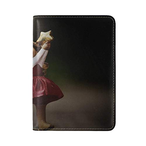 (Angel Statuette Star Leather Passport Holder Cover Case Travel One Pocket)