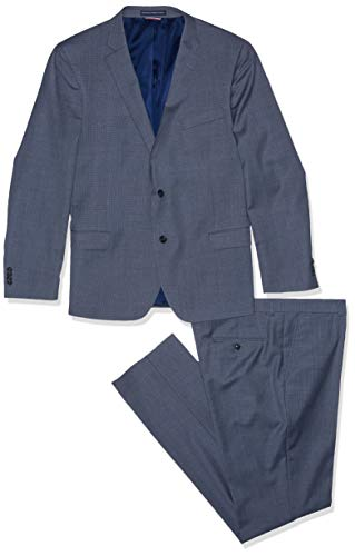 - Tommy Hilfiger Men's Slim Fit Performance Suit with Stretch, Gray Blue Micro Box, 38R