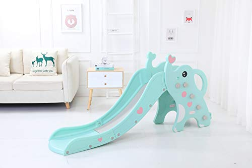 WenStorm Slide for Boys Girls Indoor Outdoor Backyard Use First Slide Playground Plastic Play Slide Climber with Basketball Hoop Elephant Sky Blue by WenStorm (Image #5)
