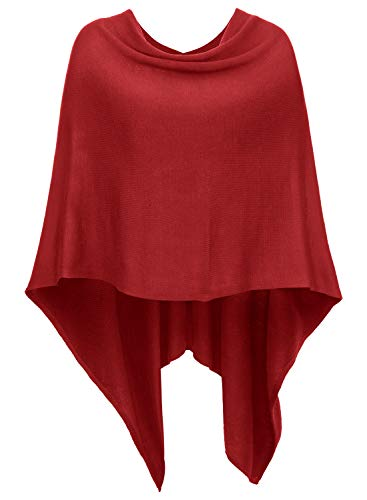 DJT Womens Solid Knit Short Asymmetric Wrap Poncho Topper Red