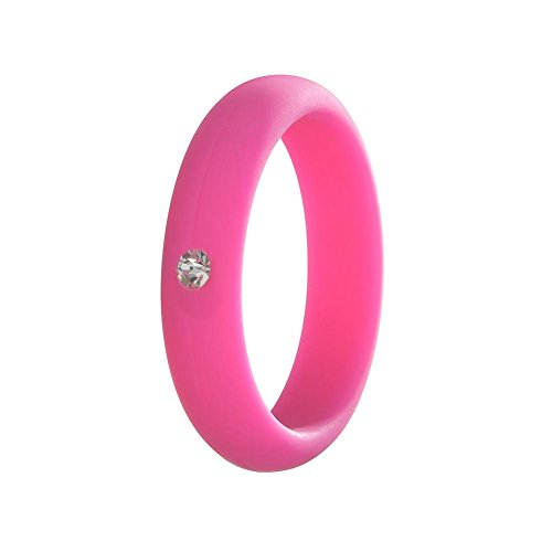 Simpleonly Women Silicone Wedding Band with Rhinestone Diamond, hot Pink Thin Rubber Bands Narrow Elastic Non Metal for Mechanic Workout, Athlete Exercise, Sport Keep - Rubber Pink Diamond