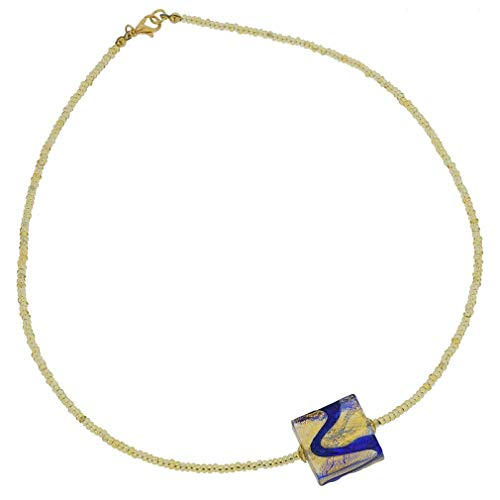 (GlassOfVenice Murano Glass Royal Blue Square Necklace)