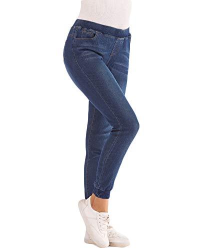 Scuro Denim Elastica Vita Fit Pantaloni Slim Casual Jeans Blu Donna Jogging Sport 7PqwZwR