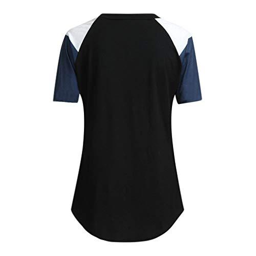 Blouse Tunique Hauts En Manches Femme Légère Chic Shirt Couleur Ample Manadlian t Et Noir Tops Casual Chemisier Courtes Bloc TFRqEaxa