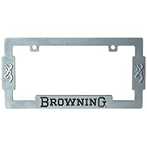 Browning License Plate Frame | Aged Nickel Hunting & Shooting Equipment, Silver, Single