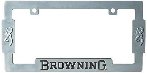 Browning License Plate Frame | Aged Nickel Hunting & Shooting Equipment, Silver, Single ()