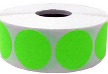 "Well Tile 2"" Fluorescent Green, Color Coding Inventory Labeling Dots 