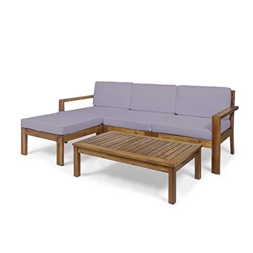 Makayla Ana Outdoor 3 Seater Acacia Wood Sofa Sectional with Cushions, Teak and Dark Gray