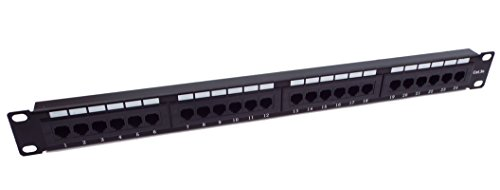 (CNAweb 24 Port Cat5e 1U Rackmount 110 RJ45 Patch Panel 568A 568B)
