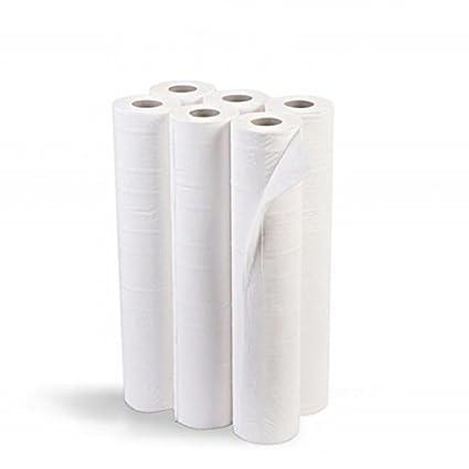 Rollo de Papel camilla SATINADO, color BLANCO. Caja con 6 rollos. Medidas: