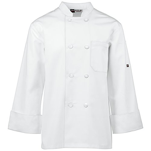 Unisex Long Sleeve Chef Coat/Double Breasted/Plastic Button Reversible Front Closure (S-2X, 2 Colors) (White, Medium) by On The Line (Image #1)
