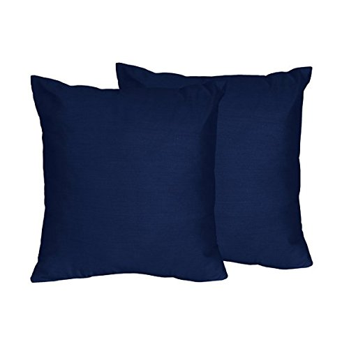 Sweet Jojo Designs 2-Piece Solid Navy Blue Decorative Accent Throw Pillows for Navy and Lime Stripe Collection by Sweet Jojo Designs