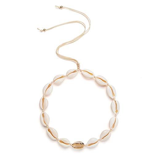 Fesciory Puka Shell Choker Necklace for Women Hawaiian Beach Pearl Cowrie Summer Necklace, Handmade Boho Natural Seashell Jewelry for Girls(Gold Shell)