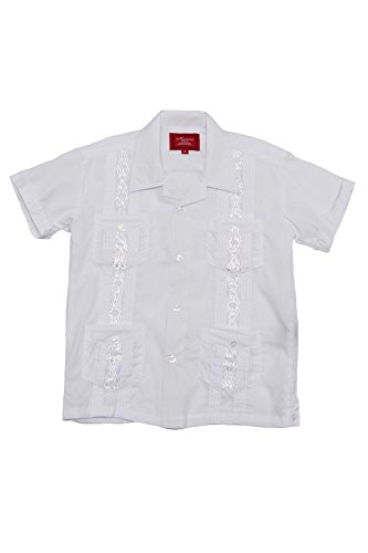 G-Style USA Boys Junior Kids Youth Guayabera Cuban Short Sleeve Collared Embroidered 4 Pocket Cotton Blend Shirt 2017-KS - White - 2