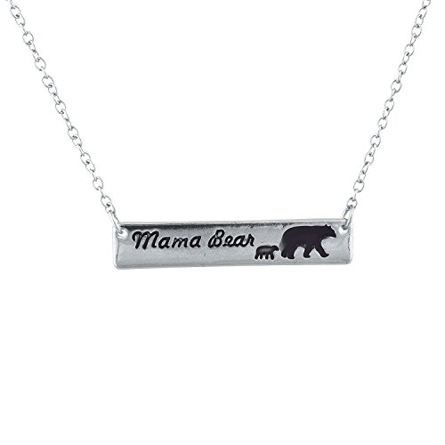 Mama 1 Pendant (Lux Accessories SilverTone Mama Bear Mother One Cub Child Charm Pendant Necklace)