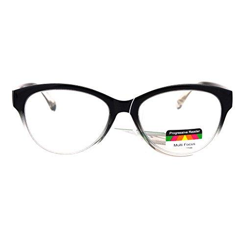 SA106 Cat Eye Multi 3 Focus Progressive Reading Glasses Black Clear +1.5